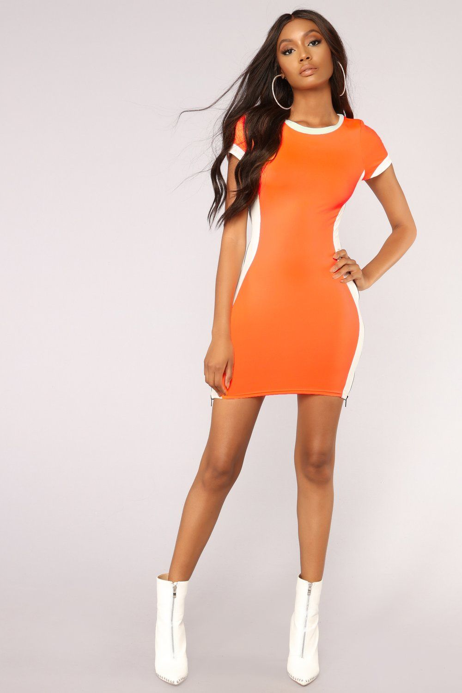 Ready Set Go Dress Neon Orange Neon outfits, Fashion