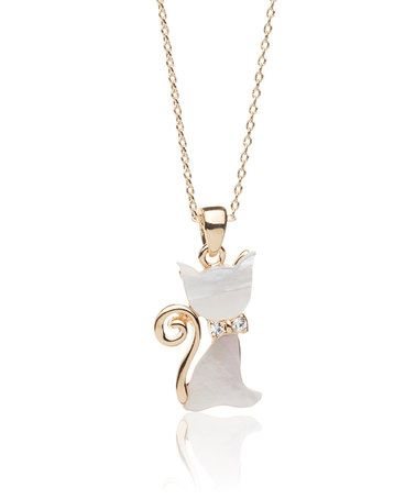 This mother of pearl cubic zirconia cat pendant necklace is this mother of pearl cubic zirconia cat pendant necklace is perfect aloadofball Choice Image