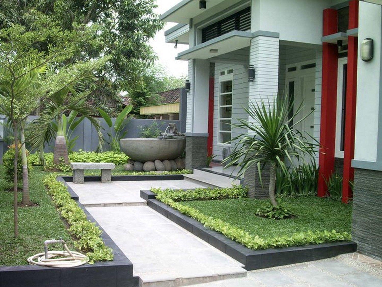 Desain Teras Dengan Taman Dan Air Mancur Untuk Model Rumah Modern