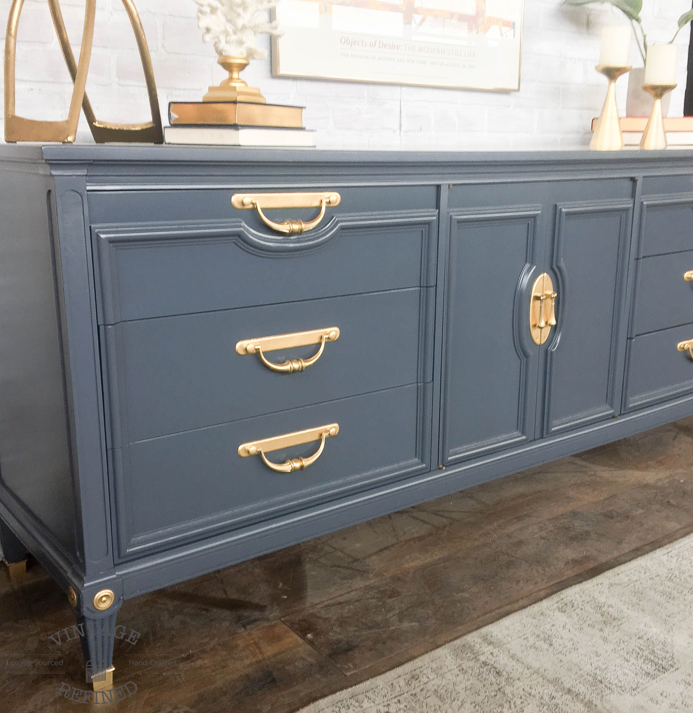 Modern Dresser Painted In Dark Grey Lacquer Furniture Makeover Recycled Furniture Painted Furniture