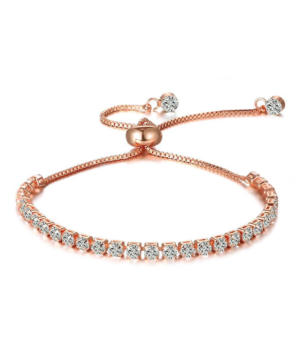 Kents jewelry company rose gold adjustable tennis bracelet with