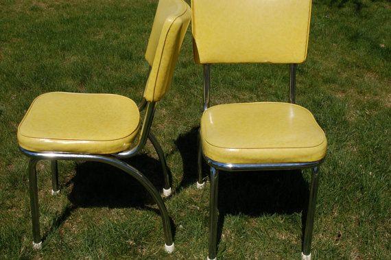 Pair of Retro Douglas Furniture Chrome and Light Lime Green ...