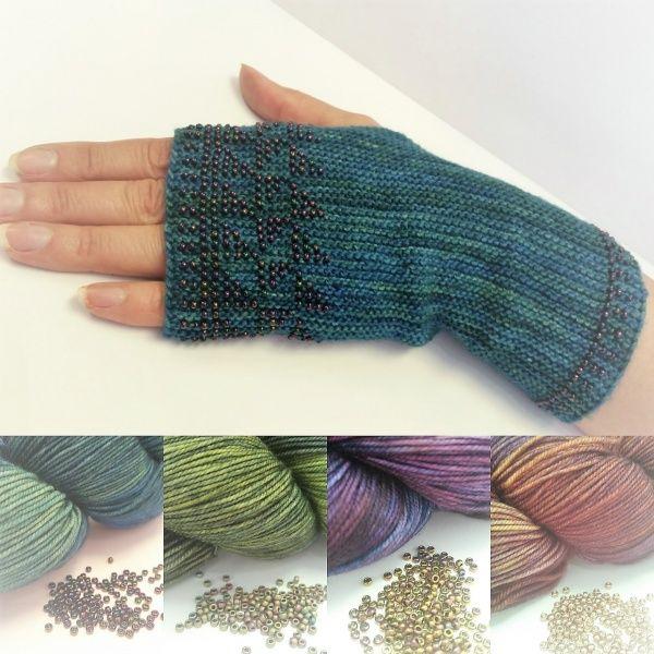 Knitting Kit Fingerless Gloves With Beaded Pattern Solis Blue