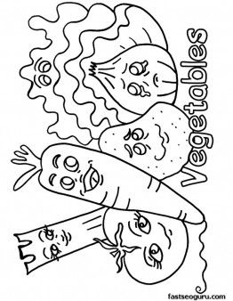 Free Printable Mix Vegetables Coloring Pages Sheet To Print Out