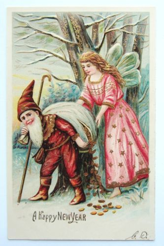 NEW-YEAR-Fairy-in-Pink-Helps-ELF-Carry-Bag-of-Coins-ASB-Postcard-EMB-Gold