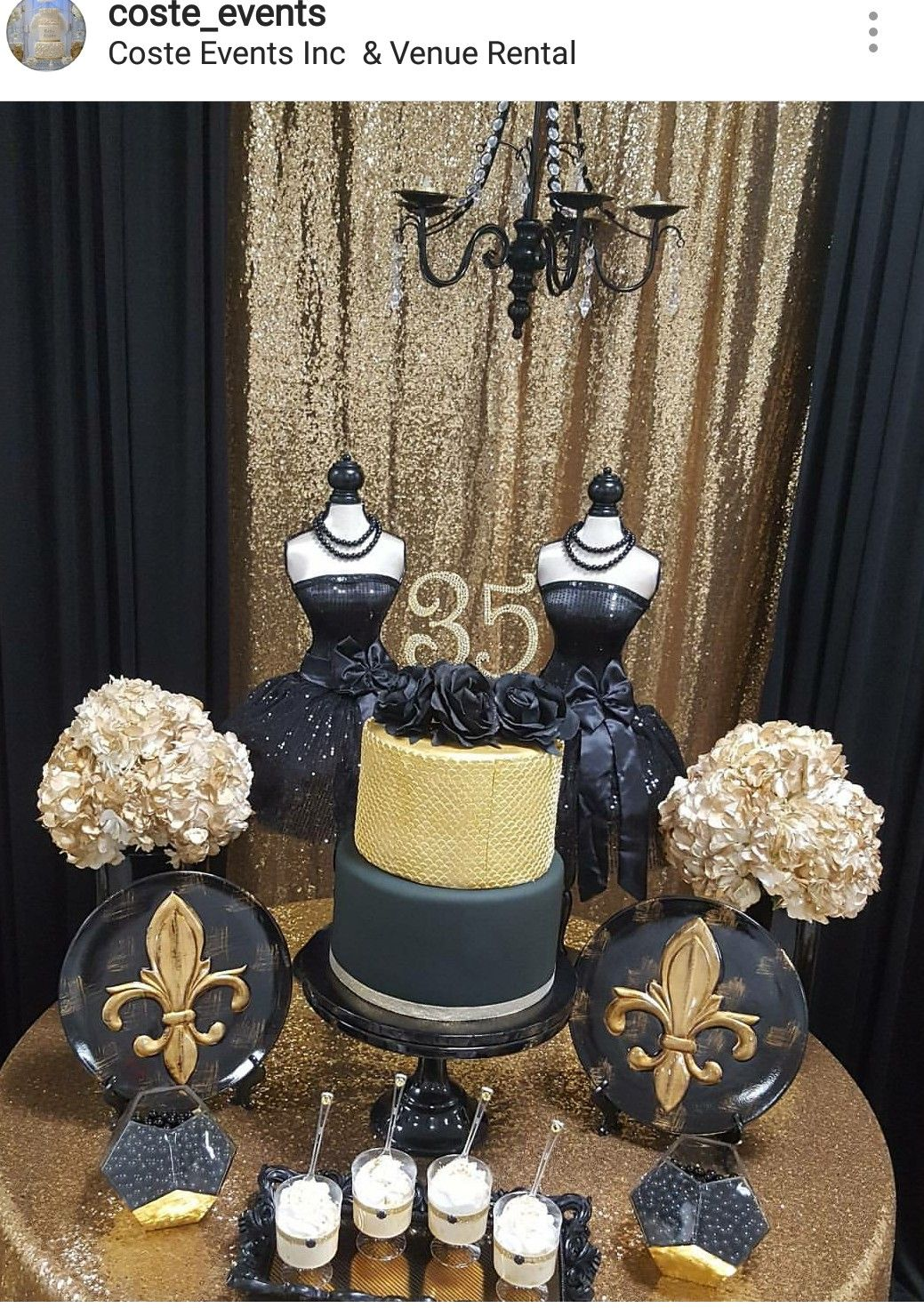 Gold And Black Birthday Party Dessert Table And Decor Birthday