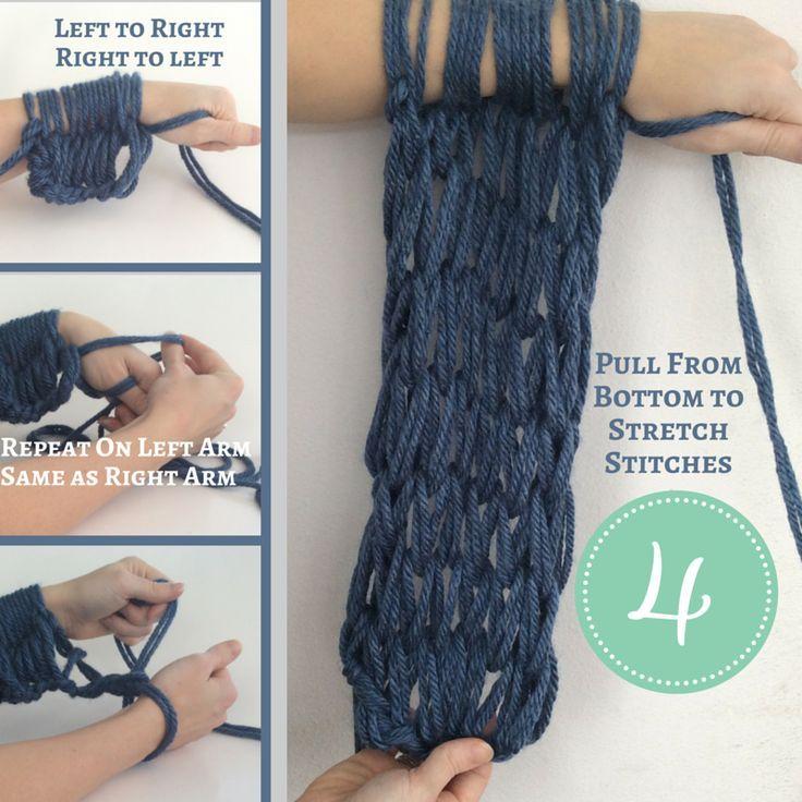 How to arm knit stepbystep instructions arm knitting