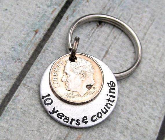 10th Wedding Anniversary Gift, Personalized Keychain, 10 Years ...