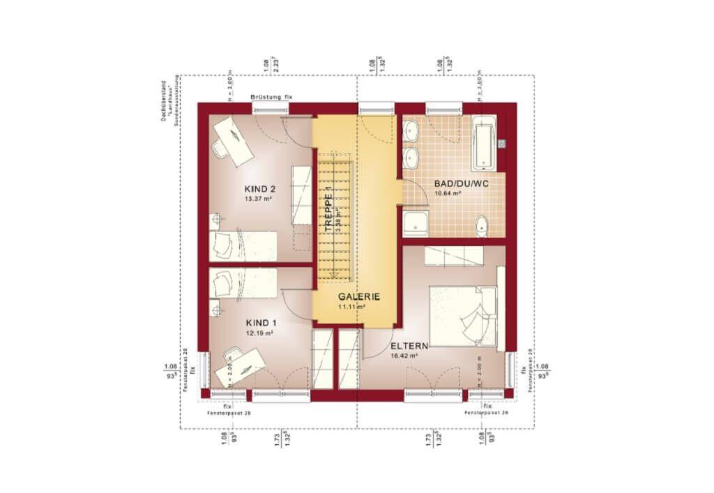 Grundriss Stadtvilla OG mit Satteldach - Haus Evolution 136 V5 Bien - offene kuche wohnzimmer grundriss