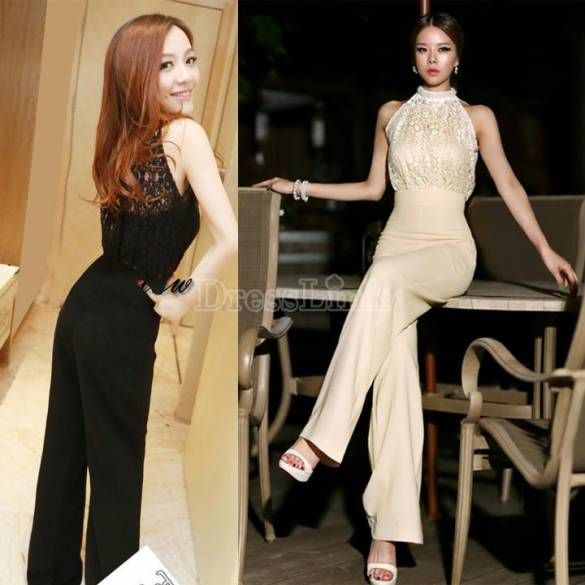 New Elegant Pearl Neckline Sleeveless Lace Stitching Wide Leg Pants Jumpsuit Rompers