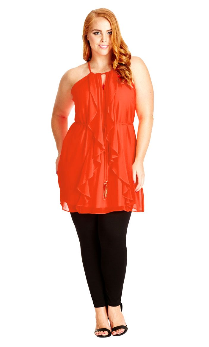 8ea92126b65 City Chic Waterfall Frill Tunic - Orange Pop - Women s Plus Size Fashion  City Chic - City Chic Your Leading Plus Size Fashion Destination  citychic  ...