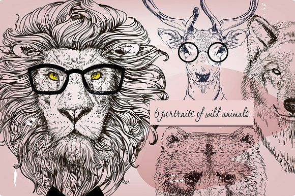set with wild characters by Eve_Farb on @creativemarket