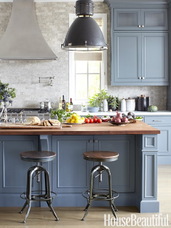 12 Interiors Designed By Slate Blue Natural Wood Tones Blue Gray Kitchen Cabinets Blue Kitchen Cabinets Kitchen Inspirations