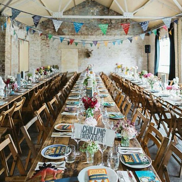 """I am so excited to introduce our Curated vendor @anthologyvintagehire in our first """"Meet our Curated Vendor """" series. Those gorgeous reclaimed wood trestle table and chairs are just a few of the unique items in their hire range.. so perfect for a rustic or vintage themed wedding or event. She has truly stunning vintage furniture for rent across the UK Pop over to our blog now to read more ... and follow @anthologyvintagehire  See link in bio.. image by @missgenphoto #eventvendorsuk"""