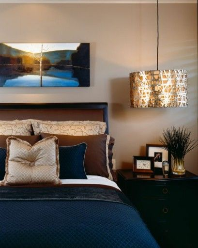 I love this color combo of blue and gold and brown. | Home decor ...