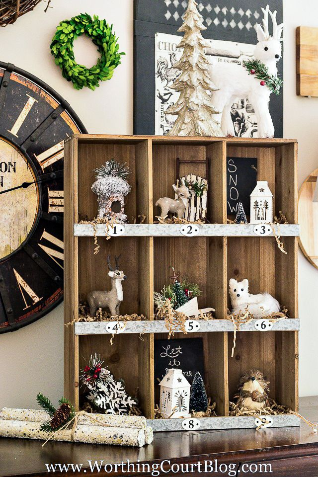 Decorate cubbies with Christmas tree ornaments and shredded paper for a cute rustic farmhouse look