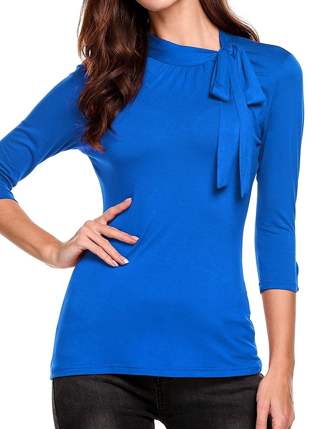 f64288b97e3 Tie-Bow Neck Cuffed Sleeve Slim Solid 3/4 Sleeve Blouse For Work ...