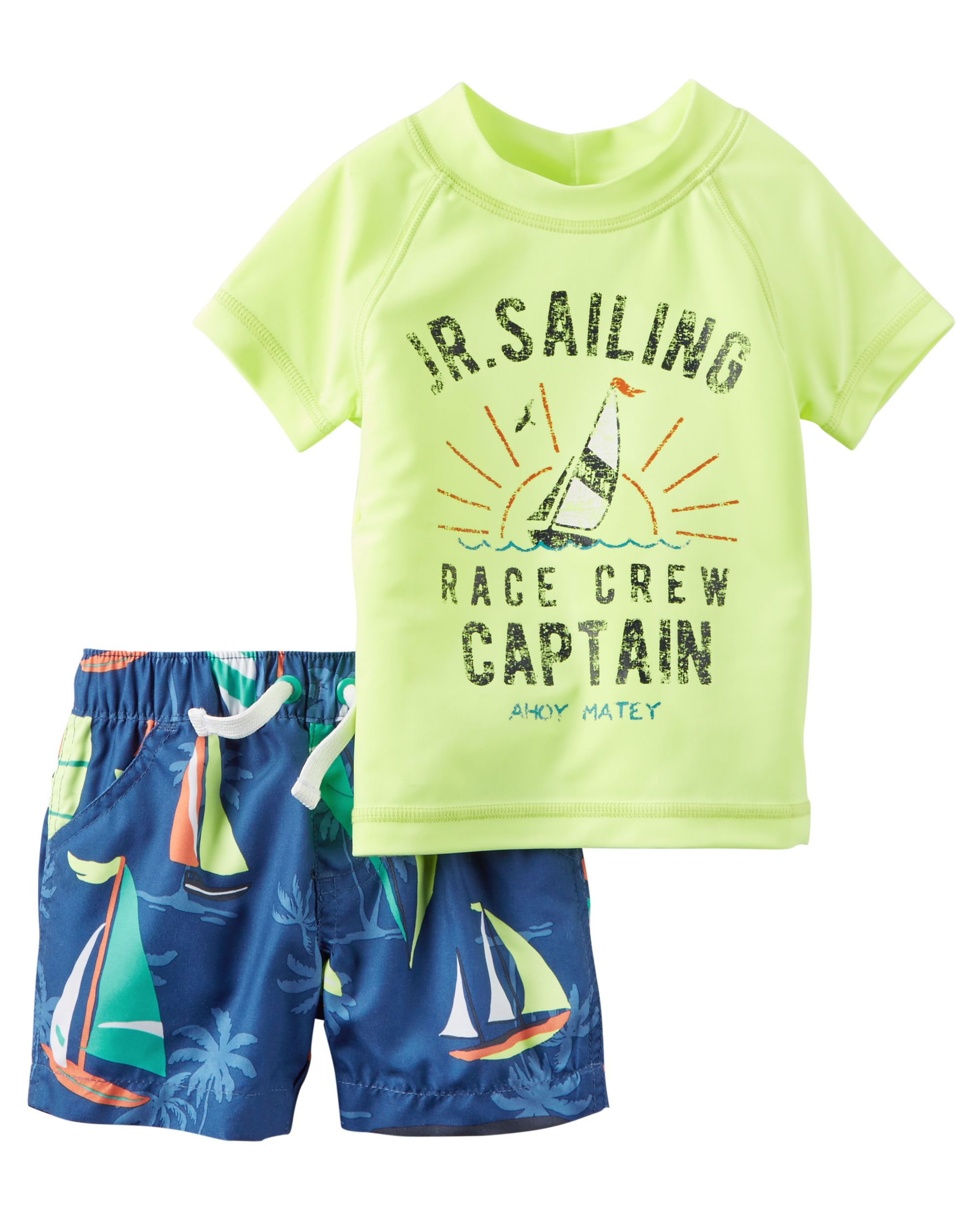 3e624f12eac34 Baby Boy Carter's 2-Piece Neon Rashguard Set | Carters.com He's ready to  dive into summer with this 2-piece rashguard set.