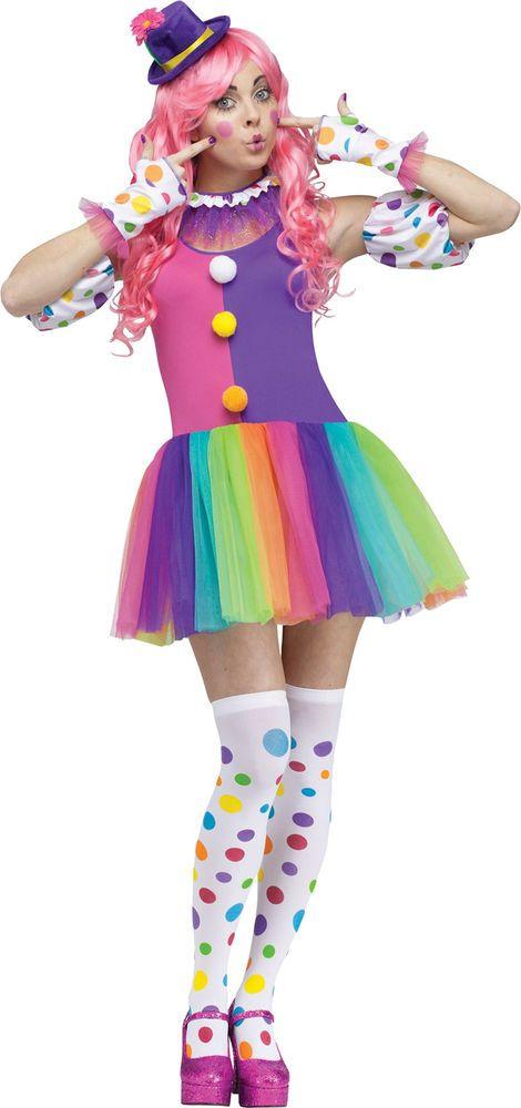 Clownin Around Adlut Women S Clown Costume Multi Colored Fancy Dress Funworld Funworld Clown Costume Women Cute Clown Costume Clown Costume