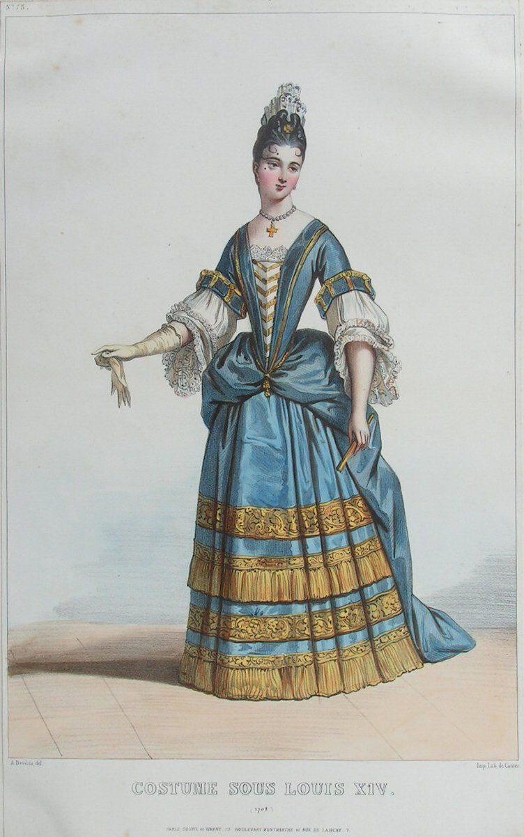 Women Costume Under The Reign Of Louis Xiv Mode Baroque Mode Du Xviie Siecle Costume Historique