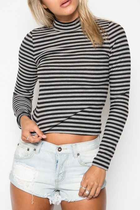 Stand Neck Long Sleeve Striped Knitwear