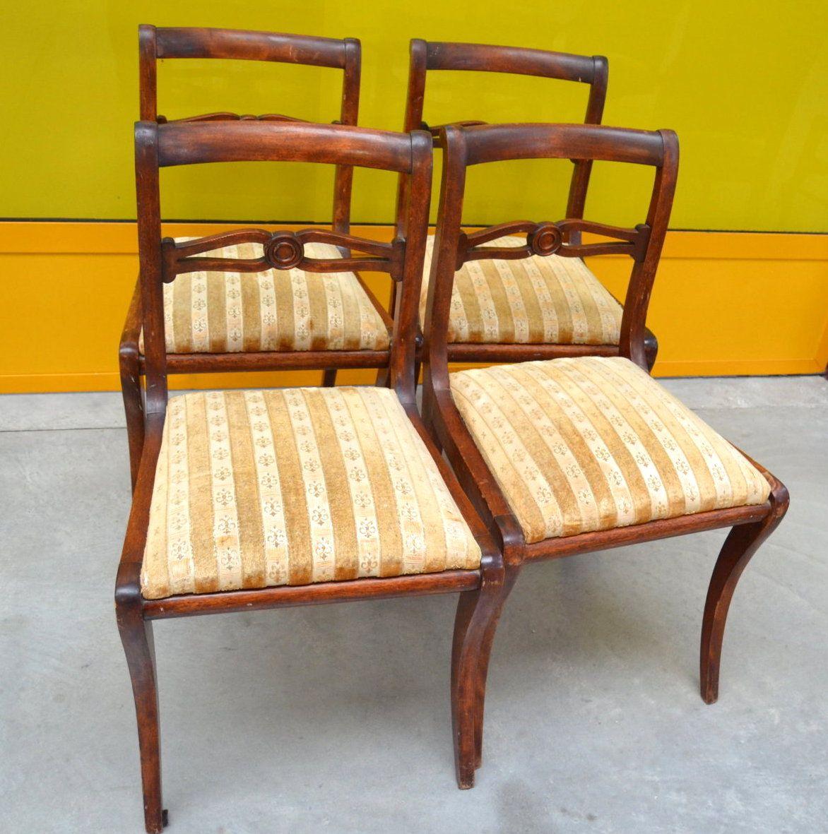 4 sedie inglesi in mogano fine 39 800 seduta imbottita for Sedie fenice design