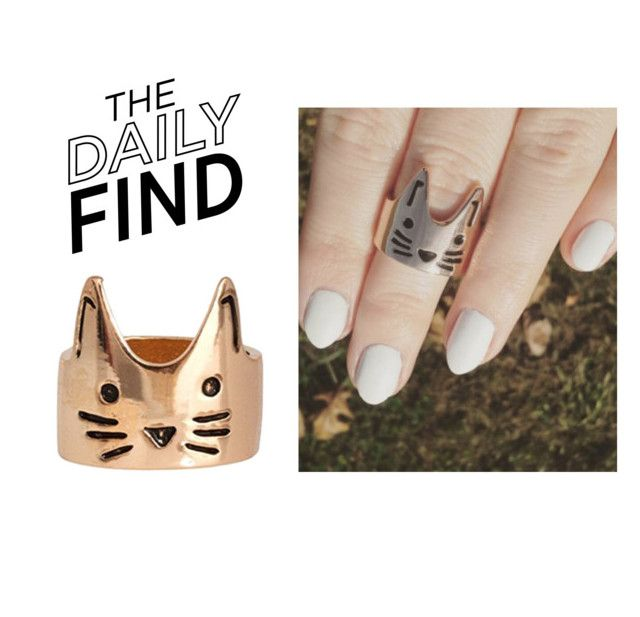 """The Daily Find: Meowingtons Cat Ring"" by polyvore-editorial ❤ liked on Polyvore featuring DailyFind"