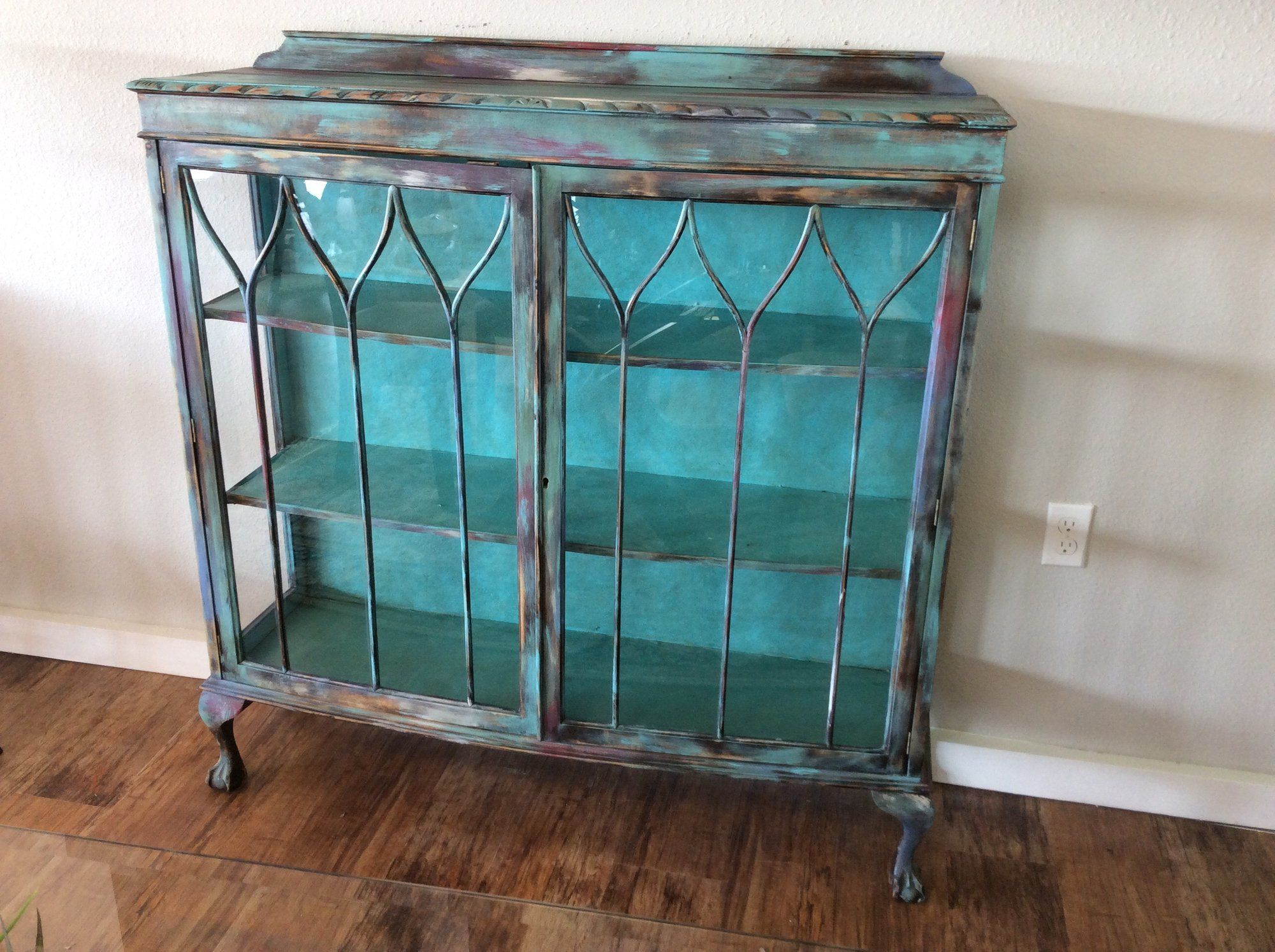 This Small Shabby Chic Curio Cabinet Is Very Colorful! It Features A Multi  Colored Wood