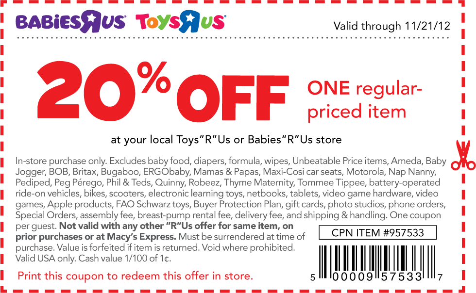 20 off a single item at toys r us babies r us coupon via the