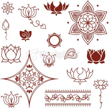 A Collection Of Lotus Flowers And Lotus Buds Inspired By The Art Of