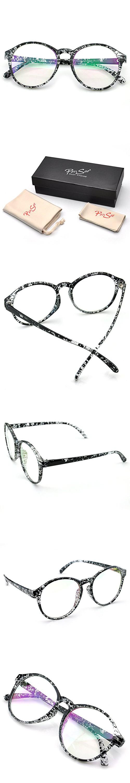 0252a7efac4 PenSee Womens Oversized Frame Inspired Horned Rim Clear Lens Circle  Eyeglasses (Transparent Black Splash)
