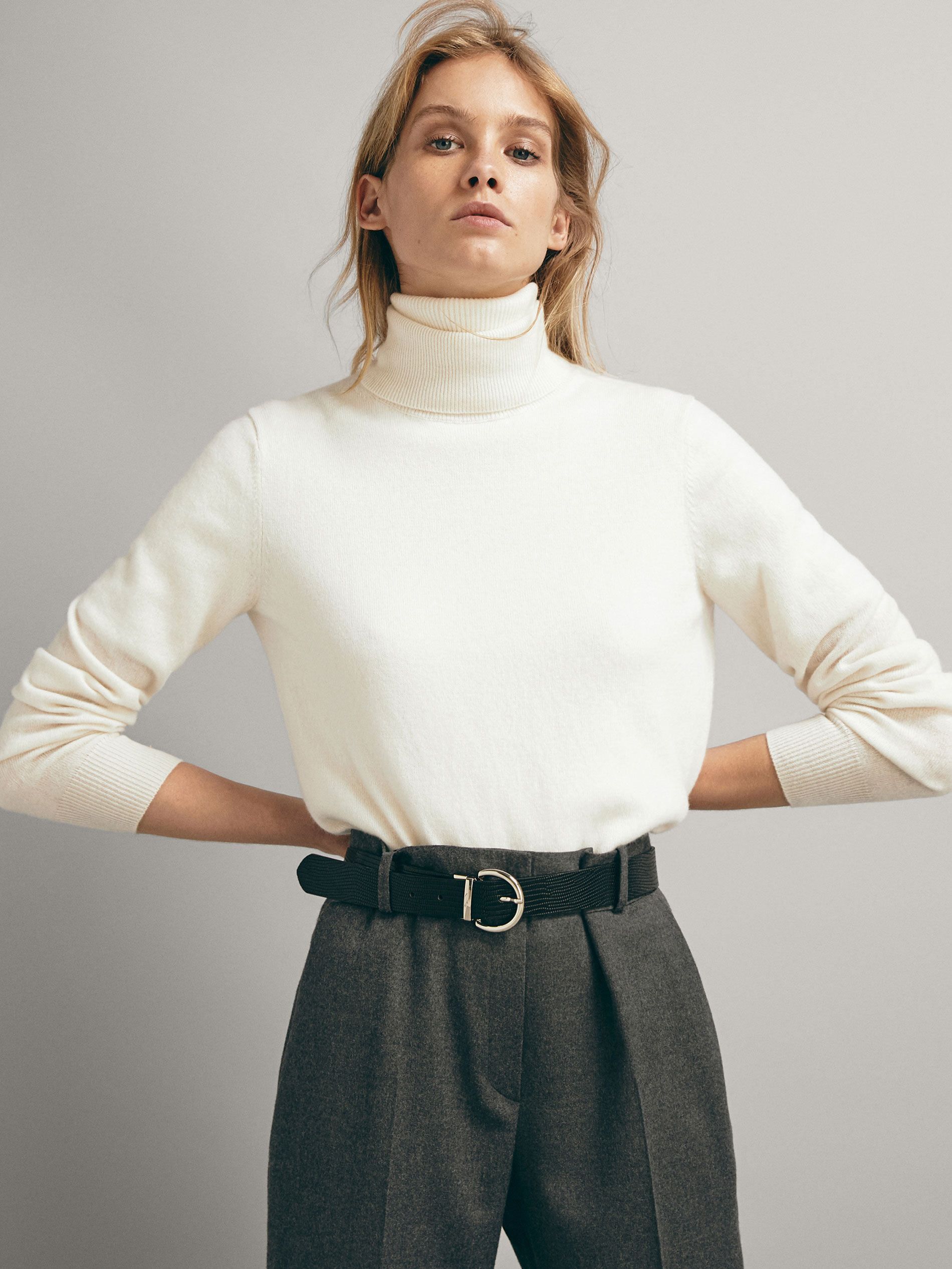 Solid Coloured Wool And Cashmere Sweater Women Massimo Dutti Cashmere Sweater Women Cashmere Sweaters Sweaters