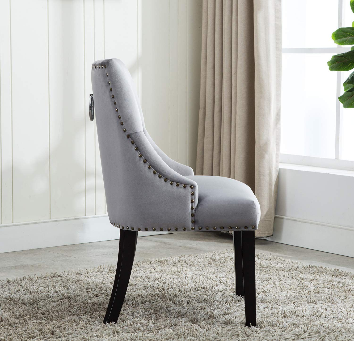 Tufted Velvet Fabric Studded Dining Chair Upholestered Accent Side