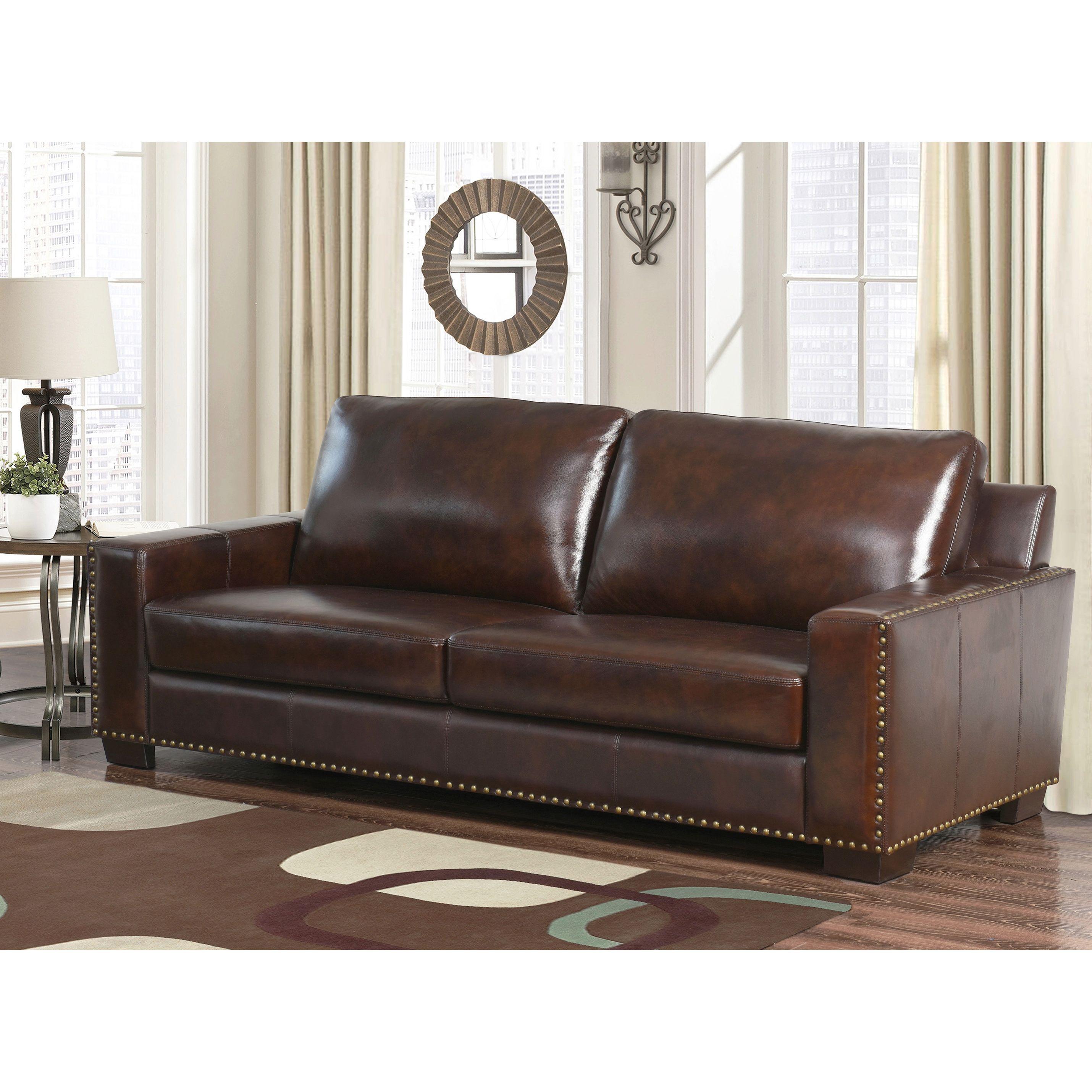 Abbyson Barrington Hand rubbed Top grain Leather Sofa by Abbyson