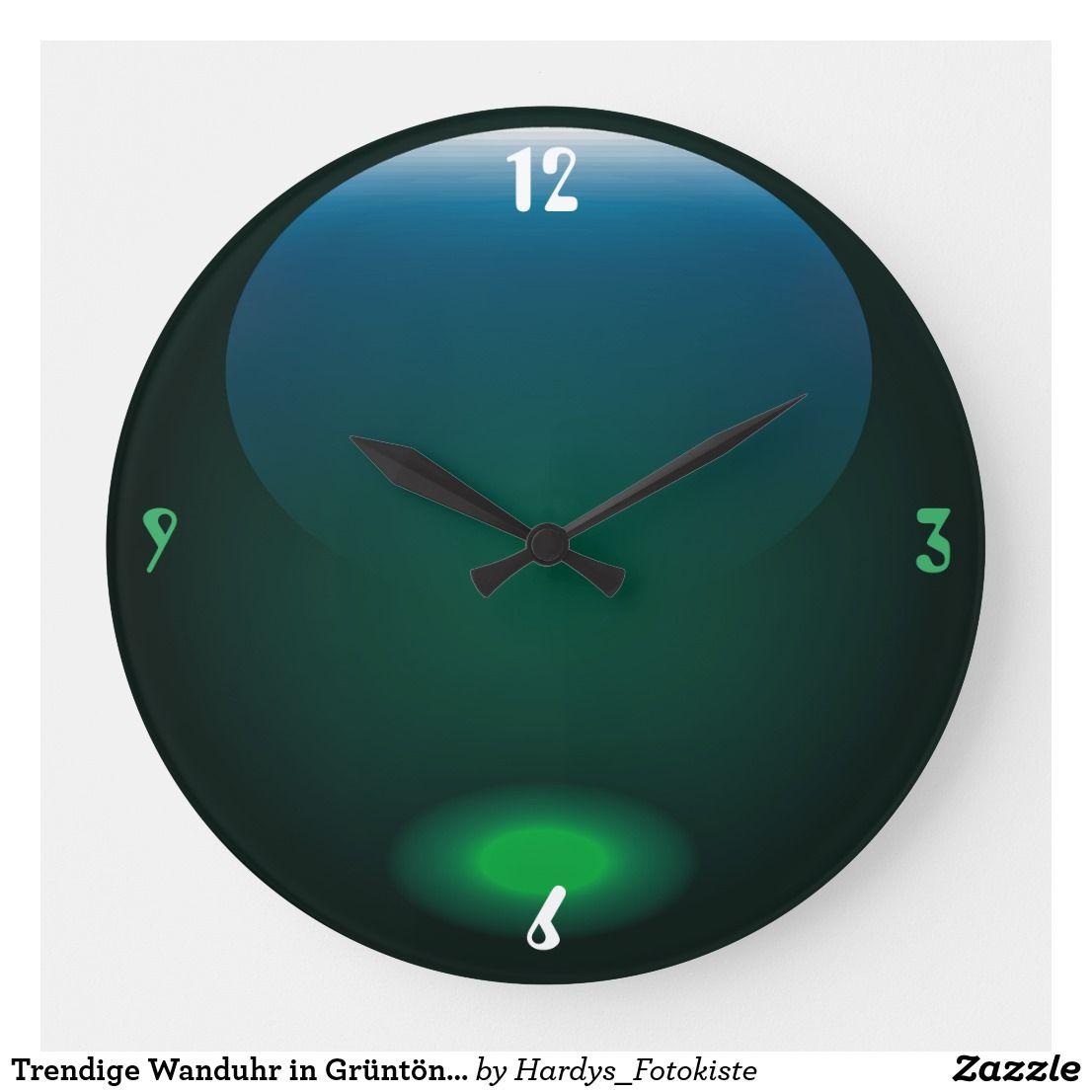 Trendige Wanduhr In Gruntonen Zazzle De Wanduhren Wanduhren Modern Und Uhren