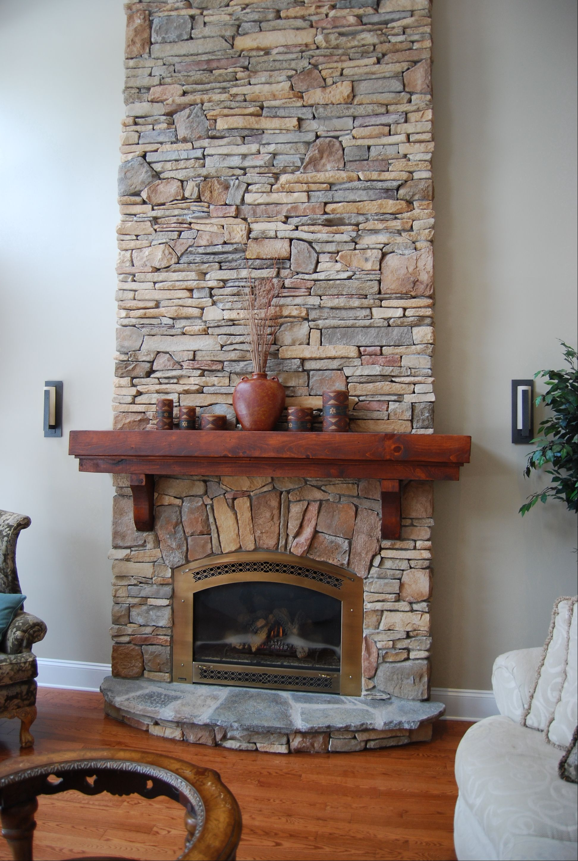 Fireplace done with cultured stone rustic southern ledgestone and