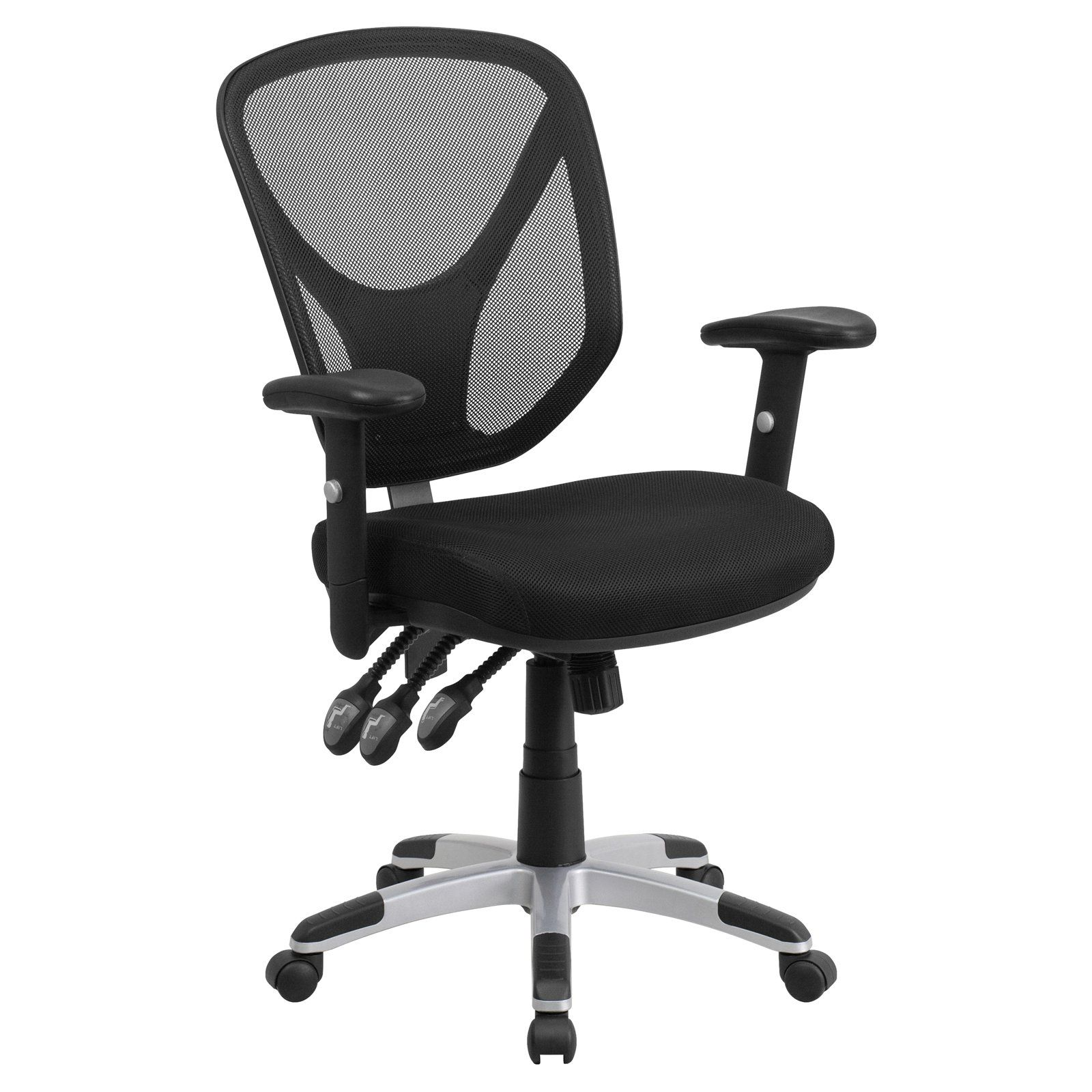 office chair controls. Flash Furniture Mid-Back Mesh Swivel Task Chair With Triple Paddle Control And Height Adjustable Office Controls