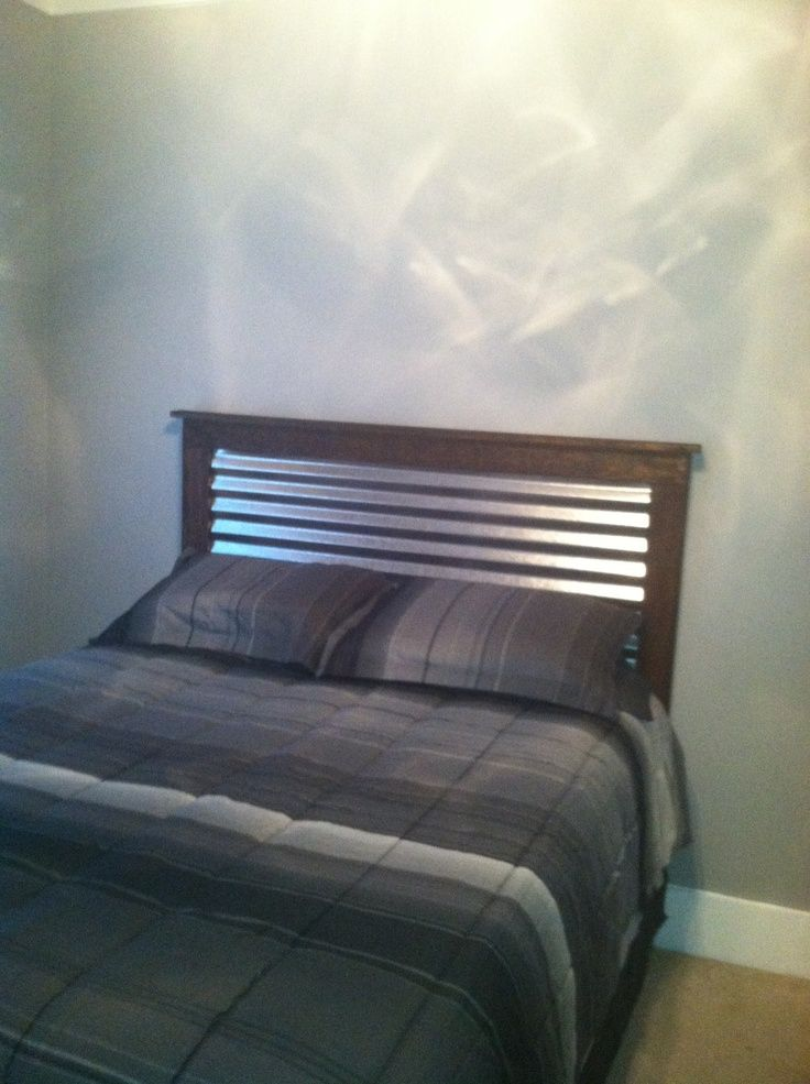 Rustic Headboard With Wood And Tin Inlay Corrugated
