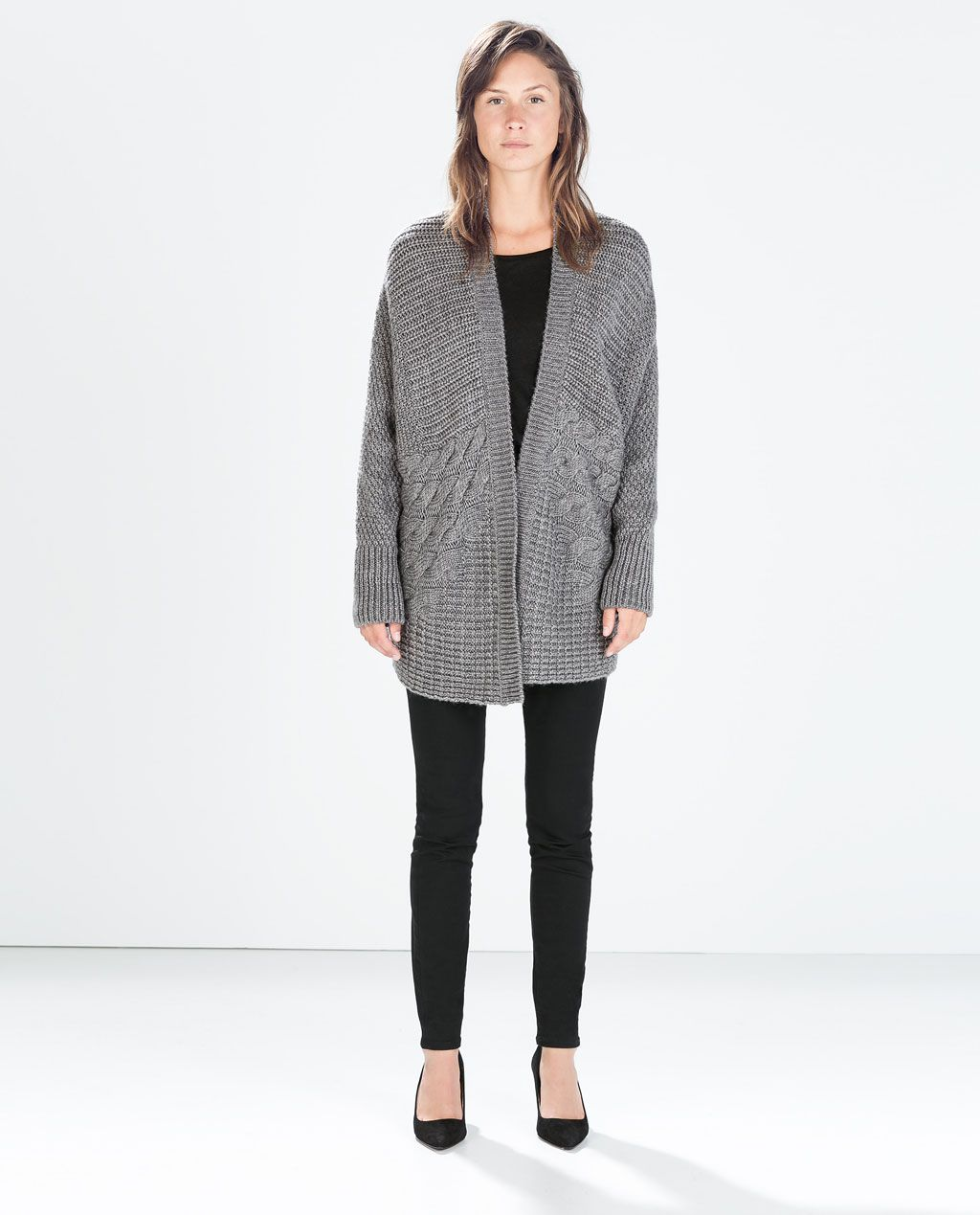 Image 1 of OVERSIZE CABLE KNIT CARDIGAN from Zara | t o a s t y ...
