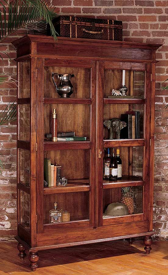 Mahogany Curio Cabinet Glass Doors Antique Style Home Sweet Home