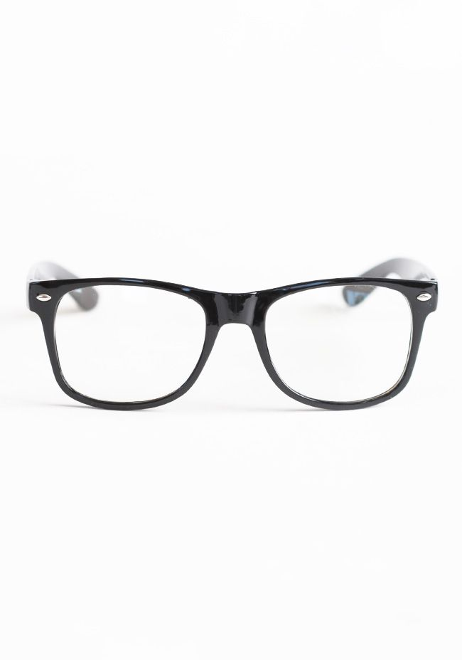 cf55615729 Whereabouts Classic Clear Glasses 14.99 at shopruche.com. These  non-prescription glasses are finished with black frames in a classic wayfarer  style.5.75