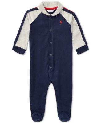 f7c08d9509d9e Ralph Lauren Baby Boys Shawl-Collar Coverall - French Navy 6 months