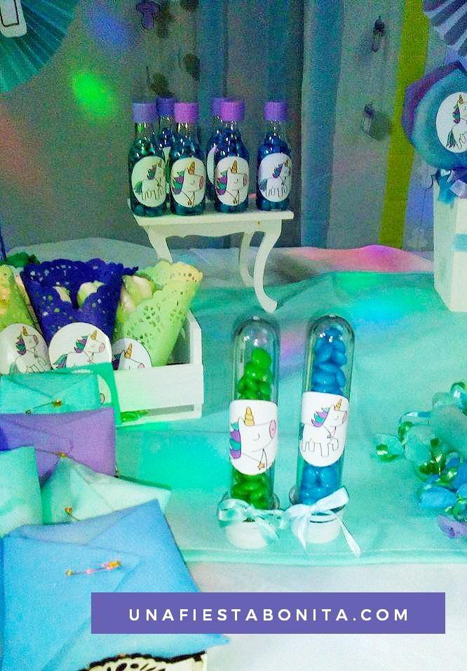 Decoración fiesta de cumpleaños unicornios morados, kit imprimible - decoracion de cumpleaos