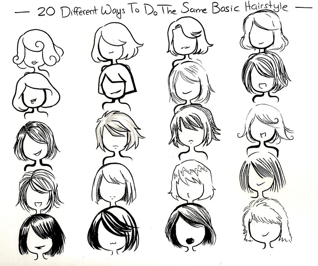 Twenty ways you can draw one hair style by ...