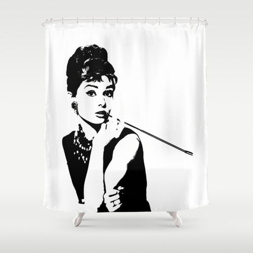 Shower Curtain - Breakfast At Tiffany's - Black and White - Housewarming Gift - Glamour Decor - Bathroom Shower Curtain