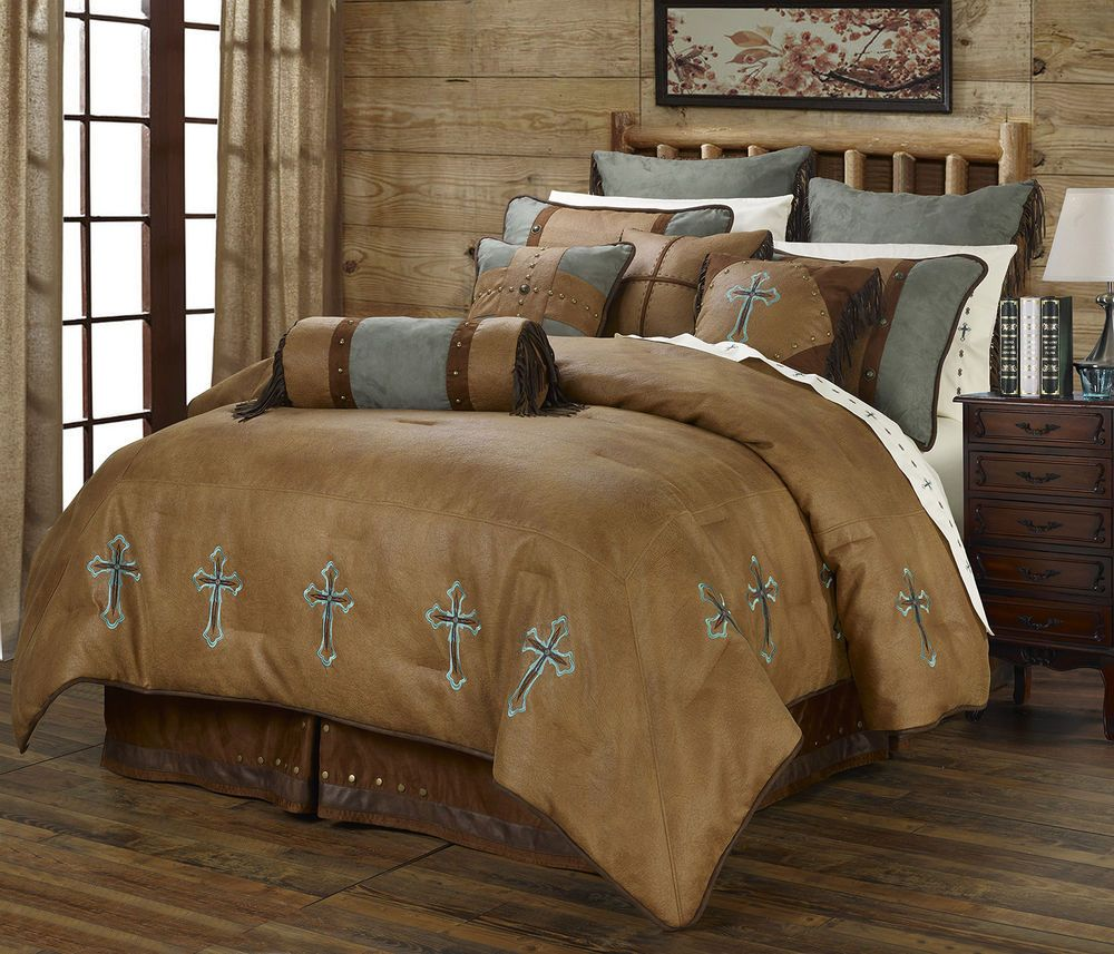 Turquoise Cross   Western   6 Piece Super King Size Comforter Bedding Set