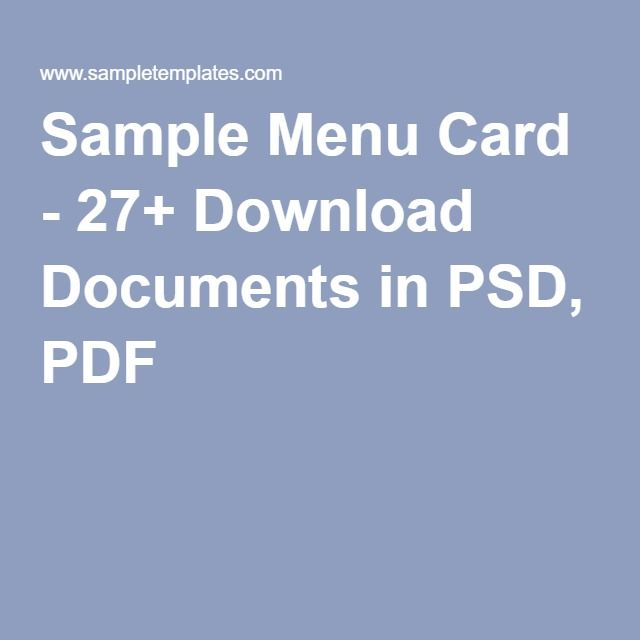 Sample Menu Card   Download Documents In Psd Pdf  Restaurant