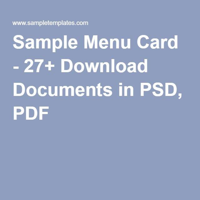 Sample Menu Card   Download Documents In Psd Pdf  Restaurant