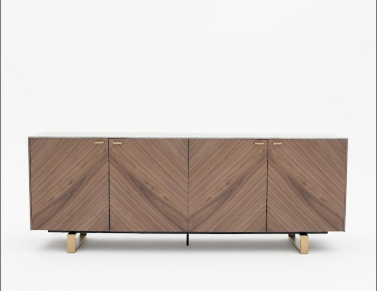 Arto Grey Walnut Veneer Sideboard Structube In 2020 Walnut Veneer Sideboard Velvet Dining Chairs