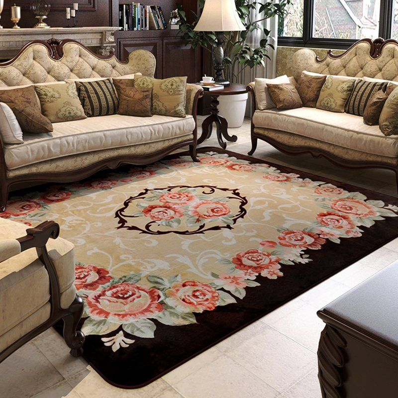 150x200cm Pastoral Big Carpets For Living Room Carved Coffee Table